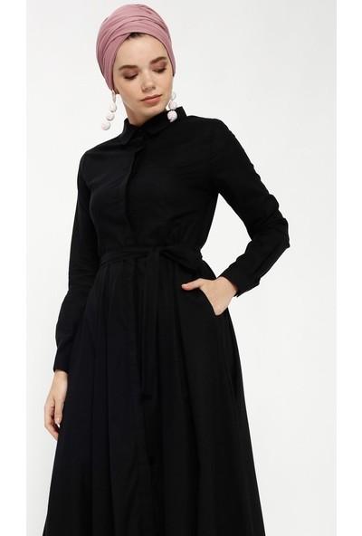 Refka Doğal Kumaştan Gizli Düğmeli Elbise - Siyah
