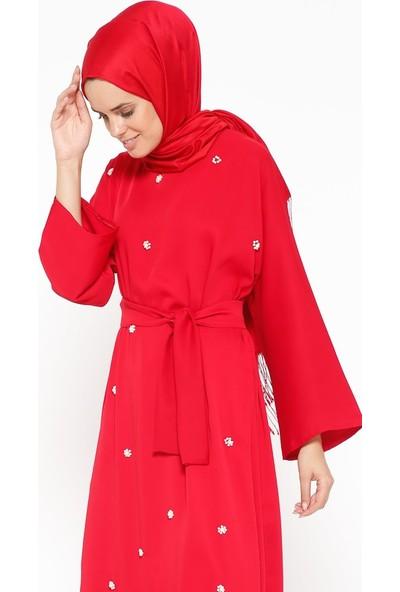 Tuncay Boncuk İşlemeli Elbise - Açık Kırmızı
