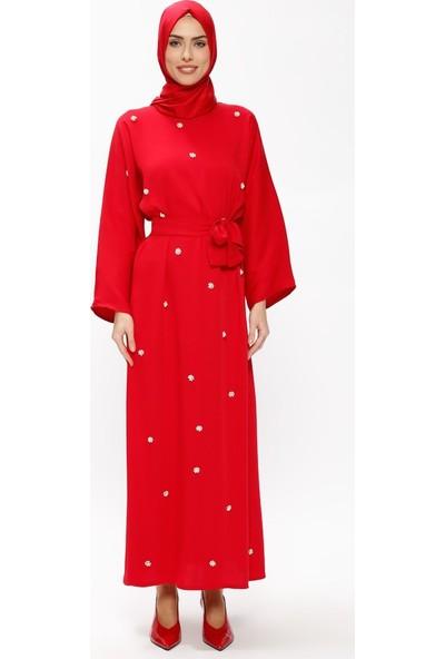 Tuncay Boncuk İşlemeli Elbise - Kırmızı