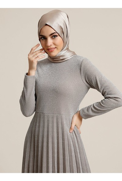 Refka Simli Abiye Elbise - Vizon