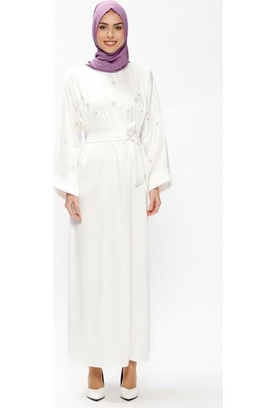 Tuncay Taşlı Salaş Elbise - Ekru