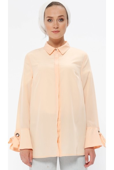 Fashion Light Gizli Düğmeli Gömlek - Pudra