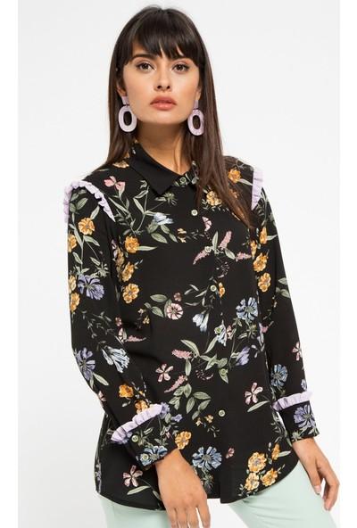 Store Wf Çiçek Desenli Gömlek - Siyah Lila