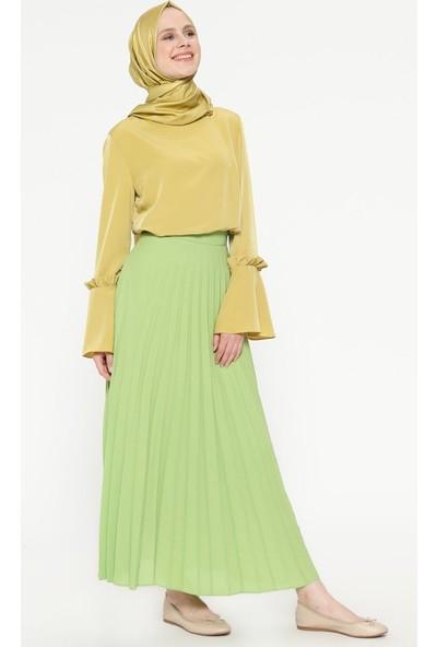 Fashion Light Piliseli Etek - Yeşil