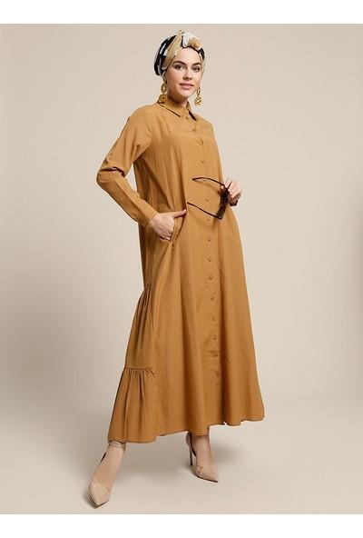 Refka Düğmeli Elbise - Tarçın