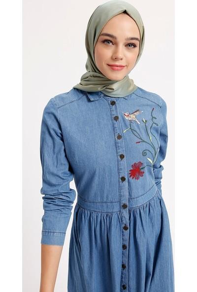 Benin Doğal Kumaşlı Nakışlı Kot Elbise - Koyu Mavi