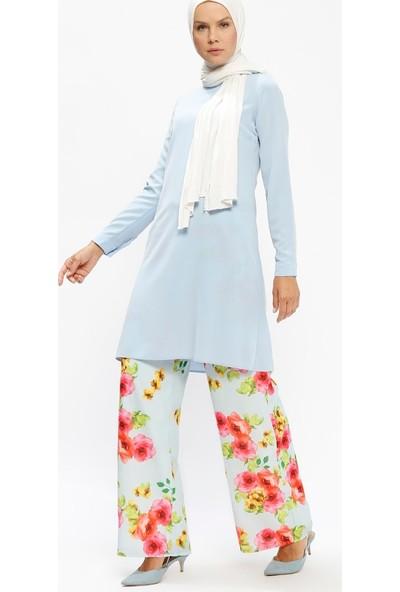 Ulviye Portakal Bol Paça Pantolon - Mavi Fuşya