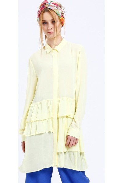 Fashion Light Gizli Düğmeli Tunik - Sarı