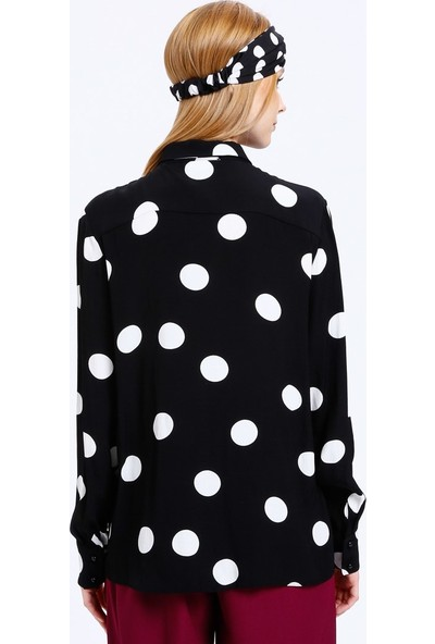 Fashion Light Puantiyeli Gömlek - Siyah