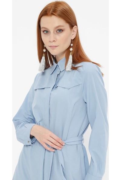 Fashion Light Gizli Düğmeli Tunik - Mavi