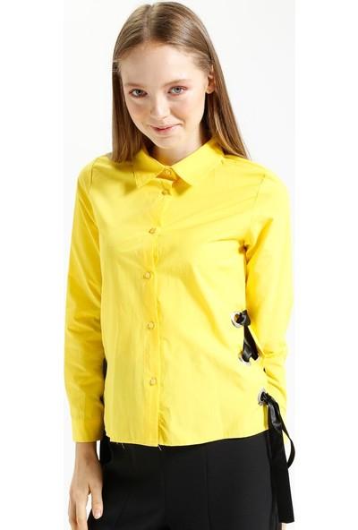 Kaktüs Yanları Kuşgözlü Kurdelalı Gömlek - Sarı
