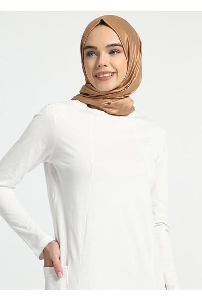 Everyday Basic Doğal Kumaşlı Cep Detaylı Elbise - Beyaz