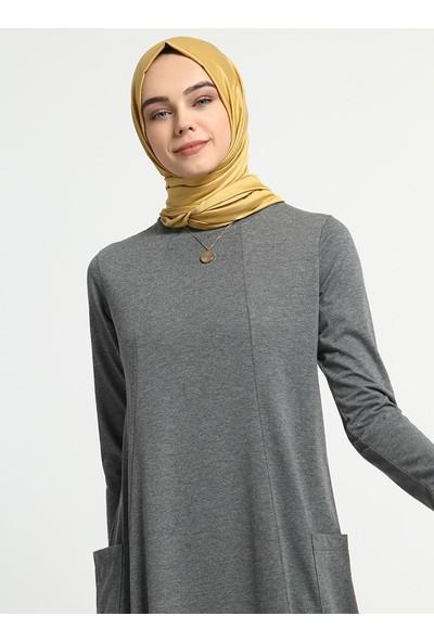 Everyday Basic Doğal Kumaşlı Cep Detaylı Elbise - Koyu Gri