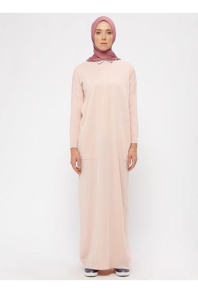 Zentoni Triko Elbise - Pudra