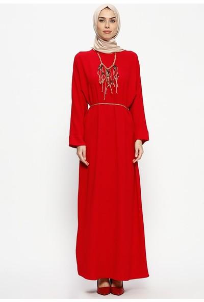 Tuncay Kolyeli Elbise - Kırmızı