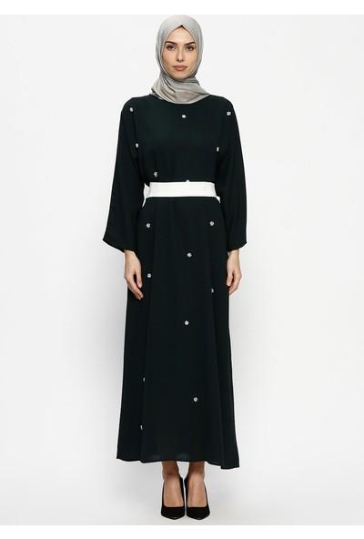 Tuncay Kuşaklı Elbise - Koyu Yeşil