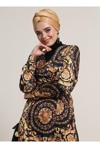 Refka Desenli Anvelop Elbise - Siyah Sarı