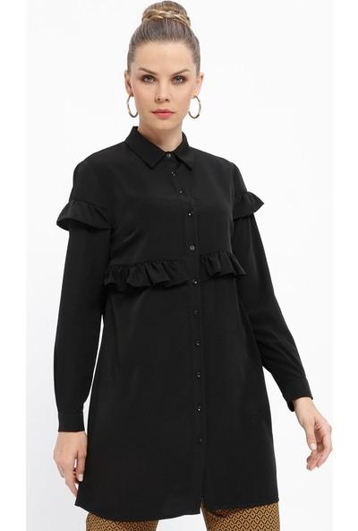 Fashion Light Fırfırlı Düğmeli Tunik - Siyah
