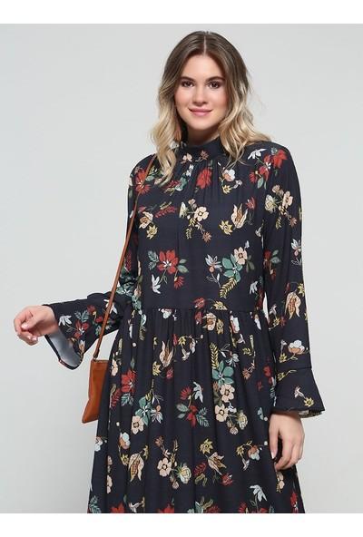 Alia Çiçek Desenli Elbise - Siyah
