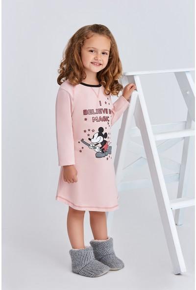 Mickey Mouse Lisanslı Çocuk Kız Gecelik Pudra