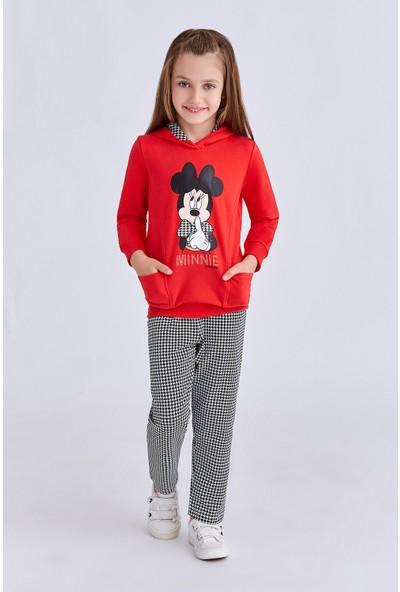 Minnie Mouse Lisanslı Kız Çocuk Eşofman Takımı Açık Kırmızı