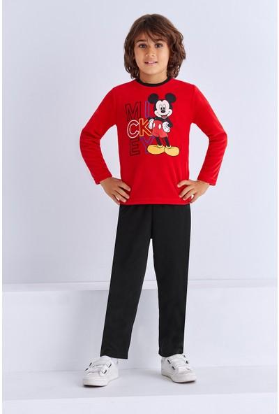 Mickey Mouse Lisanslı Erkek Çocuk Pijama Takımı Açık Kırmızı