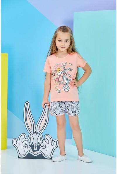 Lola Bunny Lisanslı Çocuk Kız Şortlu Takım Şeftali