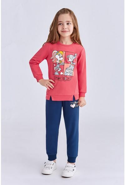 Bugs Bunny Lisanslı Kız Çocuk Eşofman Takımı Nar Çiçeği