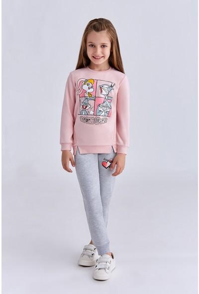 Bugs Bunny Lisanslı Kız Çocuk Eşofman Takımı Pudra