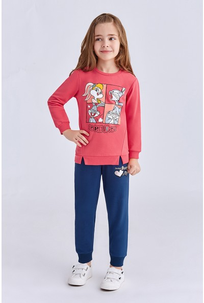 Bugs Bunny Lisanslı Çocuk Kız Eşofman Takımı Nar Çiçeği