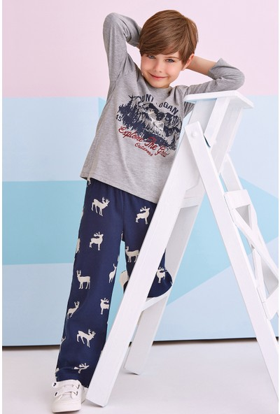 RolyPoly Mount Logan Deer Çocuk Erkek Pijama Takımı Grimelanj