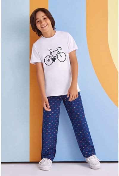 RolyPoly Bicycle Çocuk Erkek Pijama Takımı Beyaz