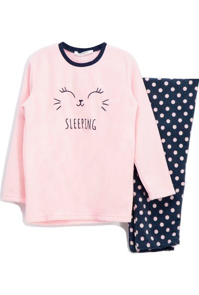 Roly Poly Sleeping Bunny Polar Kız Çocuk Pijama Takımı Açık Pembe