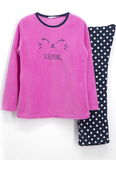 Roly Poly Sleeping Bunny Polar Kız Çocuk Pijama Takımı Fuşya