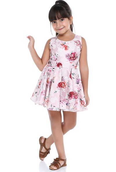 Tülü Akkoç Askılı Çiçekli Elbise