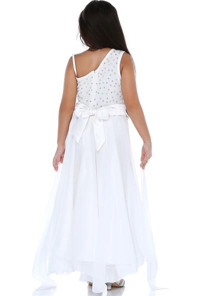 Tülü Akkoç Beyaz Taşlı Elbise