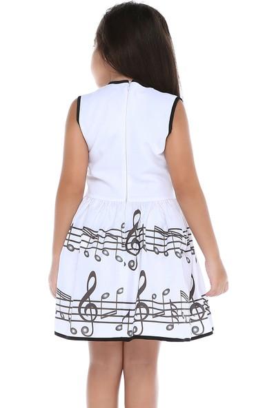 Tülü Akkoç Müzik Notalı Detaylı Beyaz Elbise