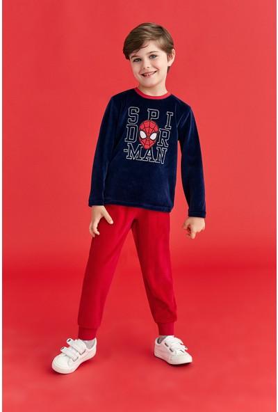Spiderman Lisanslı Erkek Çocuk Kadife Pijama Takımı Lacivert