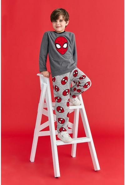 Spiderman Lisanslı Erkek Çocuk Polar Pijama Takımı Füme