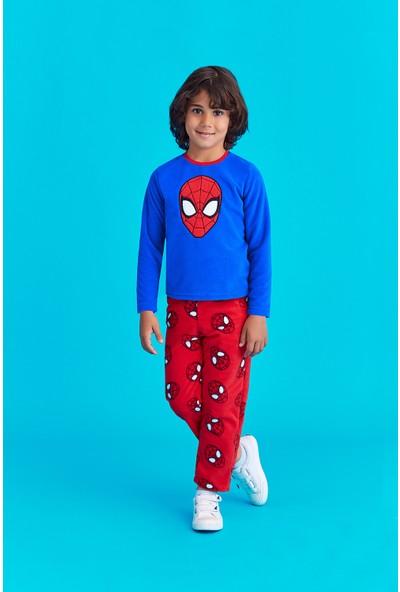 Spiderman Lisanslı Erkek Çocuk Polar Pijama Takımı Saks
