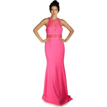 d8271683988dc Pierre Cardin Fuşya Dantelli Tüllü Uzun Abiye Elbise Fiyatı