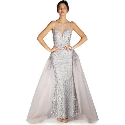 e9375a85e16a2 Pierre Cardin Gri Çiçekli Pelerinli Uzun Abiye Elbise Fiyatı