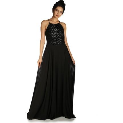 f3e74e27c4d53 Pierre Cardin Siyah Askılı Pul Payetli Uzun Abiye Elbise Fiyatı