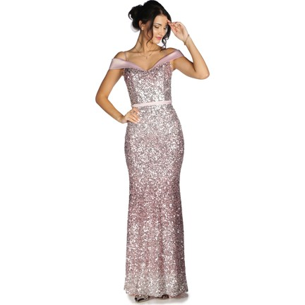 fc81032ff9e Pierre Cardin Pudra Degrade Pul Payet Uzun Abiye Elbise Fiyatı