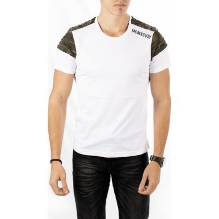 4d84773b4085c Deepsea Beyaz Kolları Kamuflaj Desenli-Pileli Yeni Sezon Sıfır Yaka Erkek  Tshirt 1802344