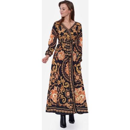 9a2482796cbb3 İroni Zincir Desenli Siyah Uzun Elbise Fiyatı - Taksit Seçenekleri