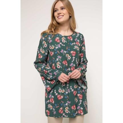 0f984d55b9d83 Defacto Kolları Volan Detaylı Çiçek Desenli Tunik Fiyatı