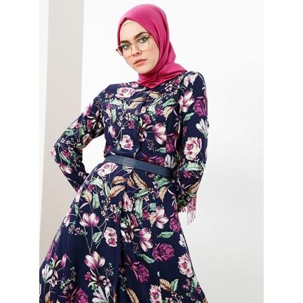 2b97da86fd437 Refka Doğal Kumaştan Boydan Düğmeli Elbise - Lacivert Fiyatı