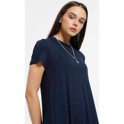 7b02b9ce101d4 Everyday Basic 135 cm Doğal Kumaştan Kısa Kollu Elbise - Lacivert