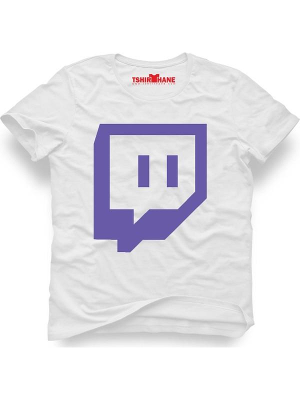 Tshirthane Twicht Logo Beyaz Erkek T-Shirt